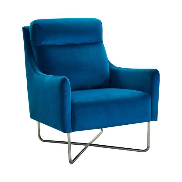 Armen Living Silver and Teal Blue Fabric Amber Contemporary Accent Chair