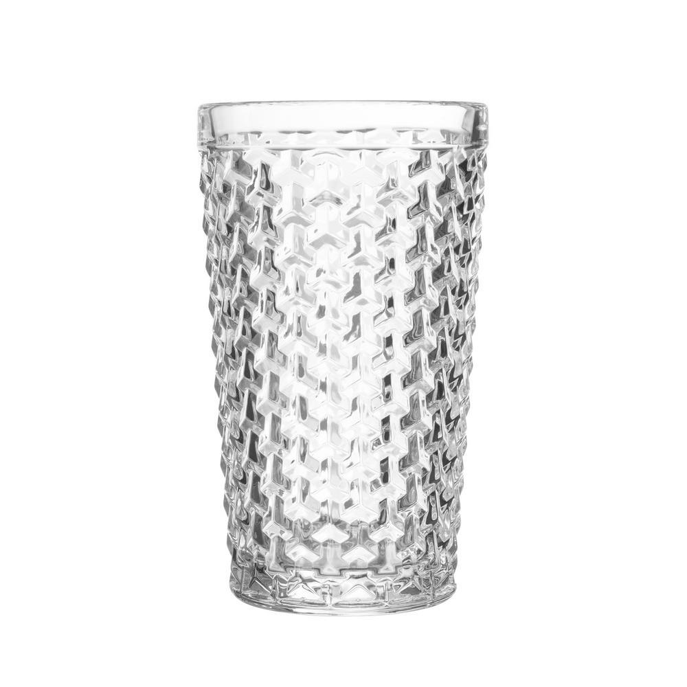 Elle Collection Bistro 13.52 oz. 400 ml 3.27 in. x 5.51 in. Weave 4-Piece Clear Hi Balls Set
