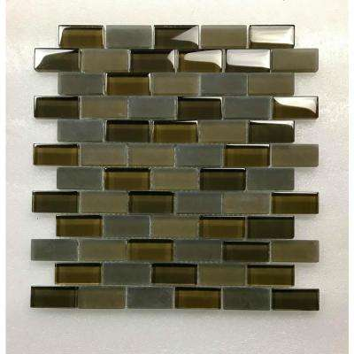 Free Flow Madiera Brown Linear Mosaic 1 in. x 2 in. Glass Wall Pool and Floor Tile (0.96 Sq. ft.)