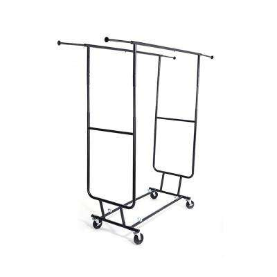 74 in. x 68 in. Black and Chrome Plated Heavy Duty Steel Garment Rack