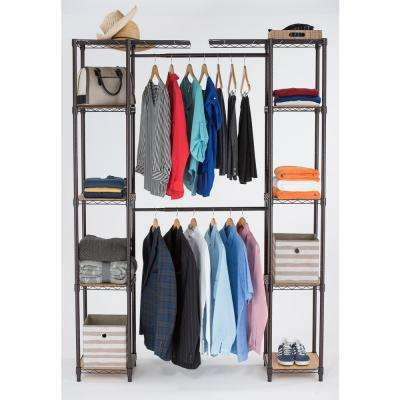 14 in. D x 78 in. W x 84 in. H Dark Bronze Expandable Wire Closet System Organizer