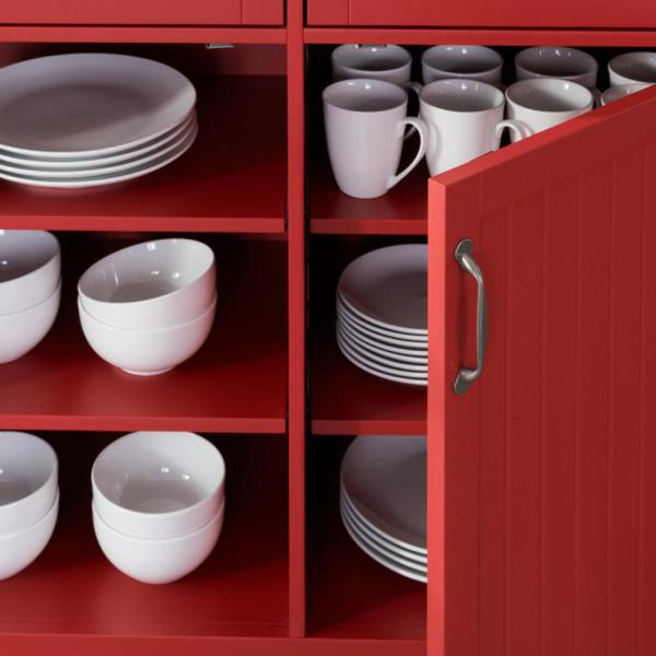Stylewell Bainport Chili Red Kitchen Cart With Butcher Block Top Sk19238e2r1 C The Home Depot