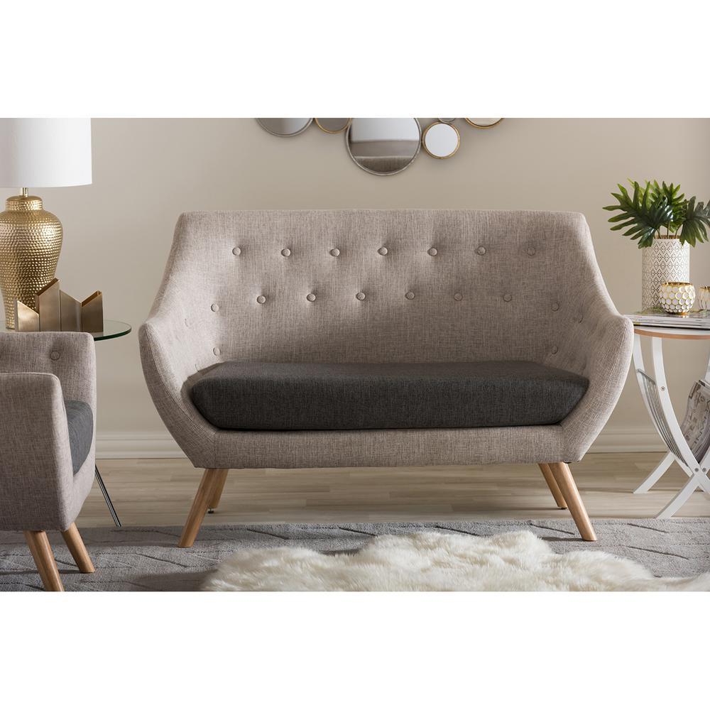 Astrid Mid-Century Beige Fabric Upholstered Loveseat
