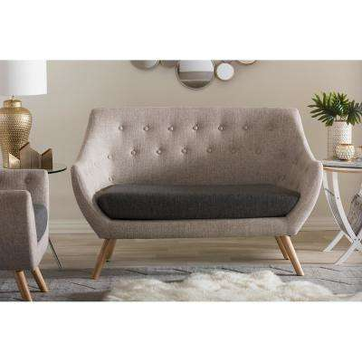 beige sofas living room. Astrid Mid Century Beige Fabric Upholstered Loveseat  Living Room Furniture The Home Depot