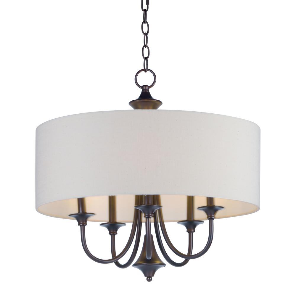 Maxim Lighting Bongo 5-Light Oil Rubbed Adjustable Bronze with White Fabric Shade Pendant Maxim Lighting's commitment to both the residential lighting and the home building industries will assure you a product line focused on your lighting needs. With Maxim Lighting accessories you will find quality product that is well designed, well priced and readily available. Maxim has fixtures in a variety of styles and a strong presence in the energy-efficient lighting industry, Maxim Lighting is the clear choice for quality lighting.
