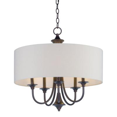 Bongo 5-Light Oil Rubbed Adjustable Bronze with White Fabric Shade Pendant