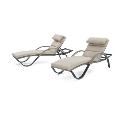 Cannes Patio Chaise Lounge with Slate Grey Cushions (2-Pack)