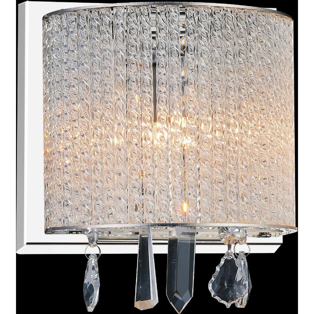 CWI Lighting Benson 1-Light Chrome Sconce  sc 1 st  Home Depot & CWI Lighting Benson 1-Light Chrome Sconce-5562W8C-1 Clear - The Home ...