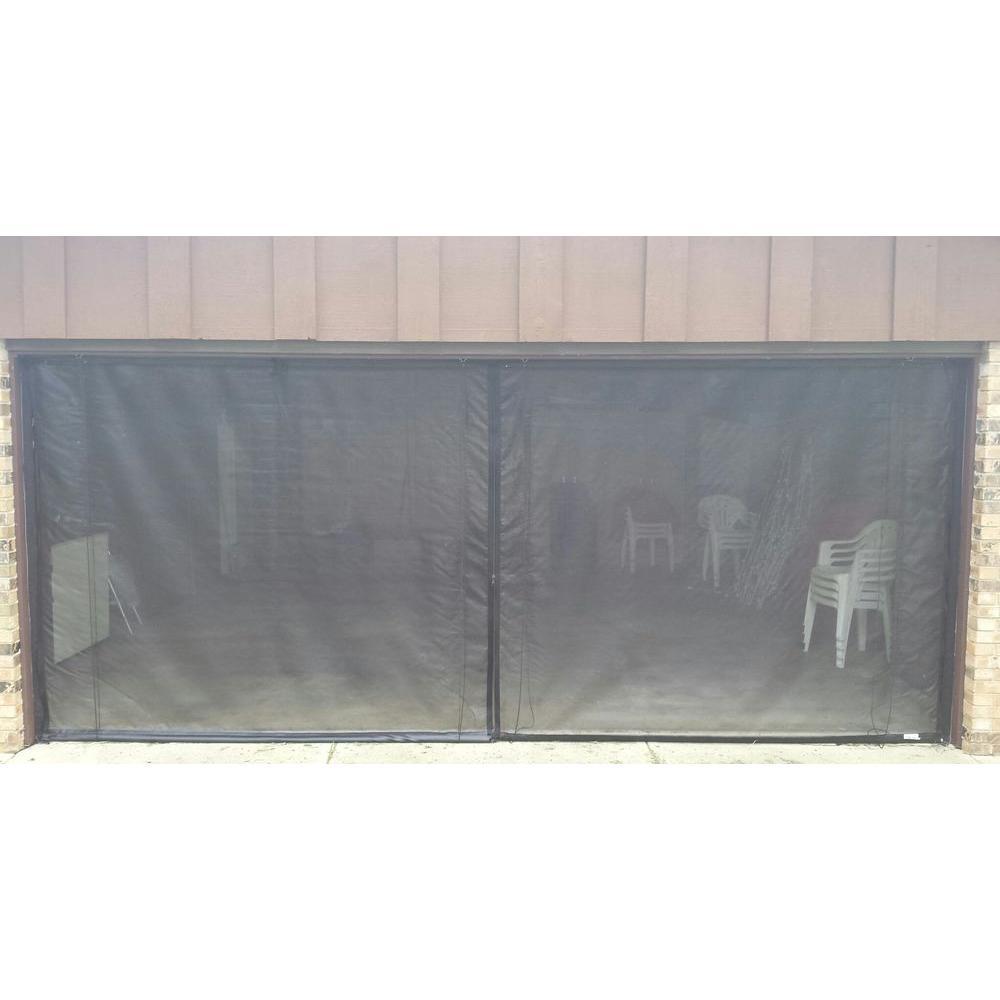10 ft. x 7 ft. 3-Zipper Garage Door Screen with Rope/Pull