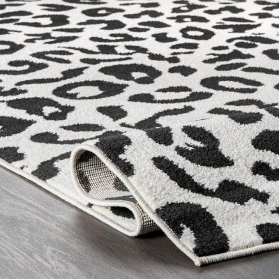 Leopard Print Dark Gray 10 ft. x 14 ft. Area Rug