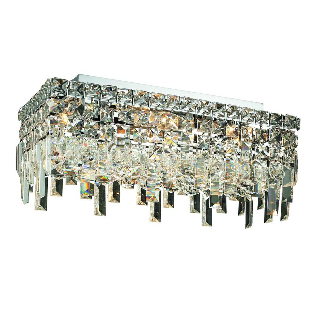 Elegant Lighting 4-Light Chrome Flushmount with Clear Crystal