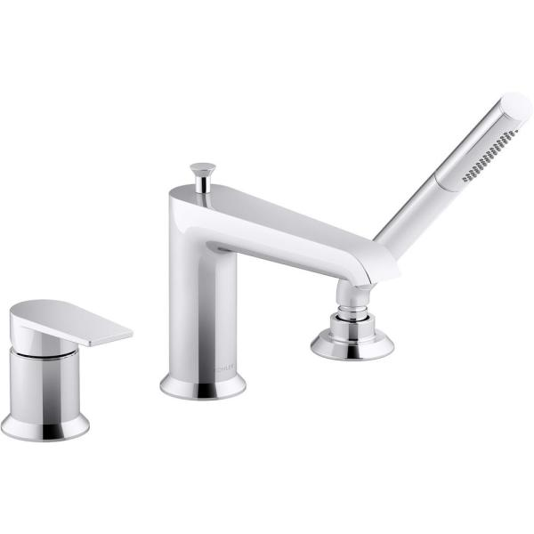 Hint Single-Handle Deck-Mount Roman Tub Faucet with Hand Shower in Polished Chrome