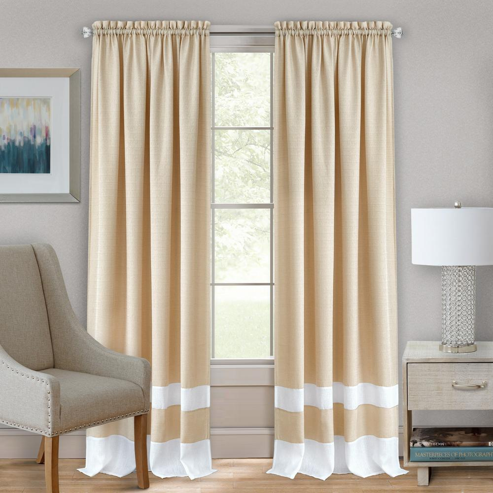 Darcy Tan/White Polyester Rod Pocket Curtain 52 in. W x 84
