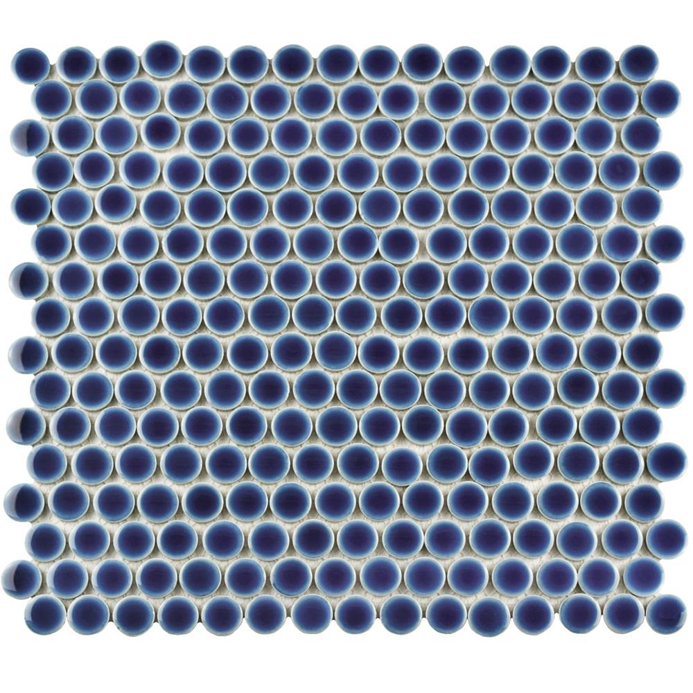 Merola Tile Hudson Penny Round Smoky Blue 12 in. x 12-5/8 in. x 5 mm Porcelain Mosaic Tile