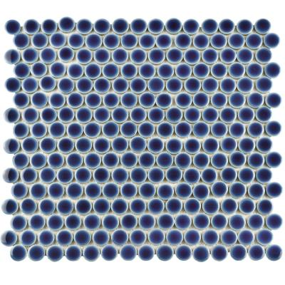 Hudson Penny Round Smoky Blue 12 in. x 12-5/8 in. x 5 mm Porcelain Mosaic Tile