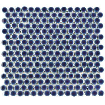 Hudson Penny Round Smoky Blue 12 in. x 12 in. Porcelain Mosaic Tile (10.74 sq. ft. / Case)
