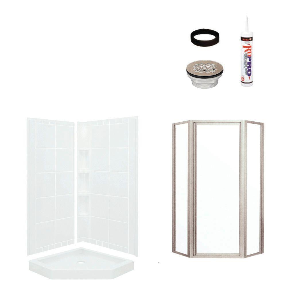 STERLING Intrigue Neo Angle 39 in. x 39 in. x 79-1/8 in. Corner Shower Kit with Shower Door in White/Nickel-DISCONTINUED