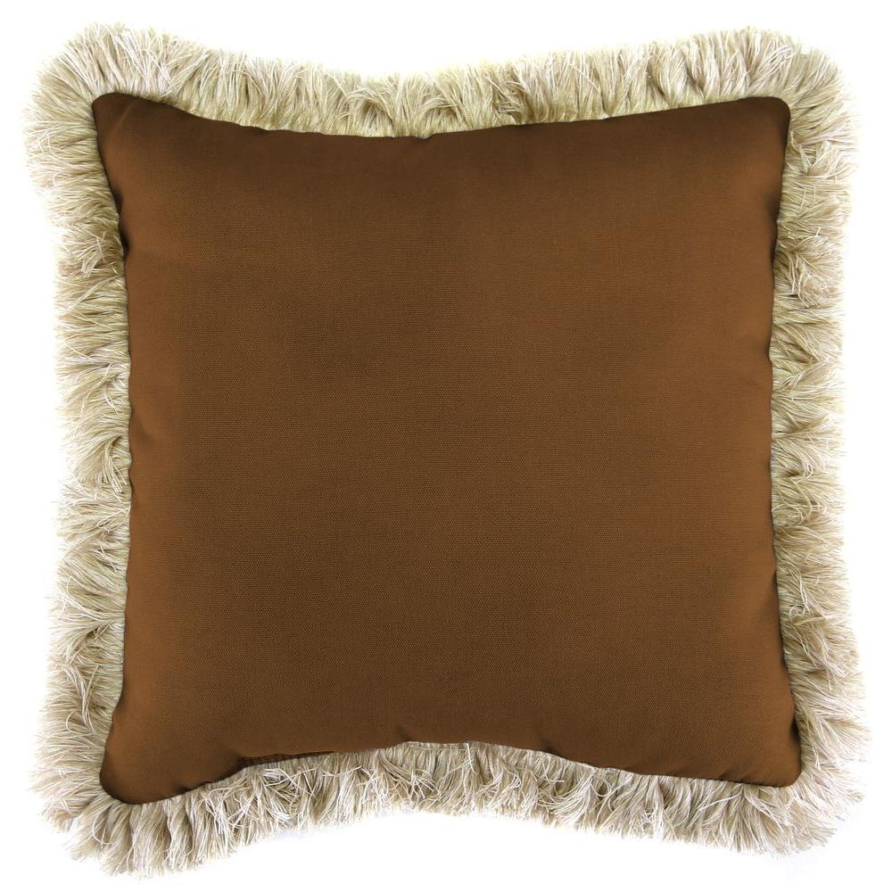 Jordan Manufacturing Sunbrella Canvas Teak Square Outdoor Throw Pillow with Canvas Fringe