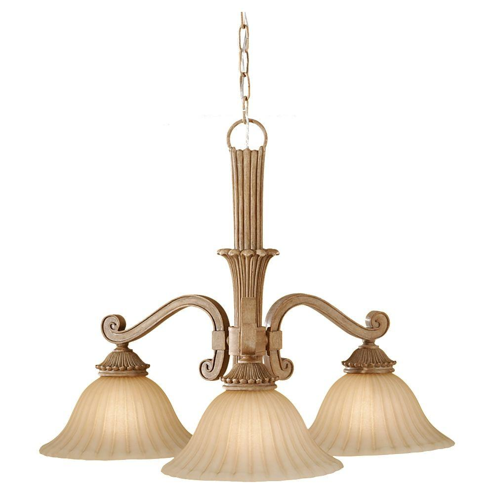 Feiss Blair 3-Light Medium Aged Wood Kitchen Chandelier