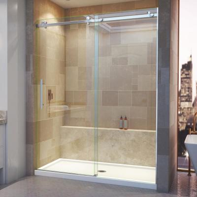 Enigma Air 56 in. to 60 in. x 76 in. Frameless Sliding Shower Door in Brushed Stainless Steel