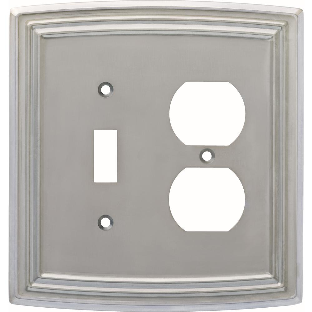 Classical 2-Gang Switch and Duplex, Satin Nickel