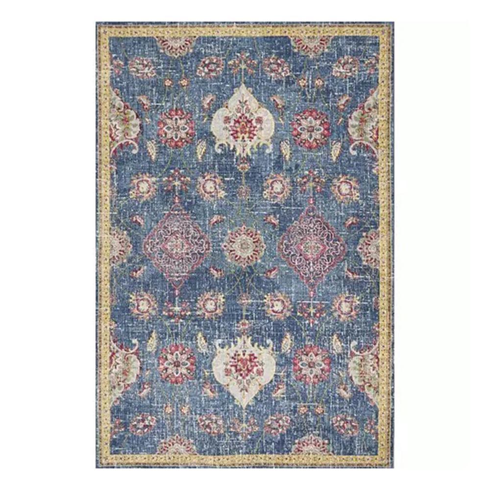 HomeRoots Bernadette Blue 2 ft. x 8 ft. Floral Polypropylene Area Rug