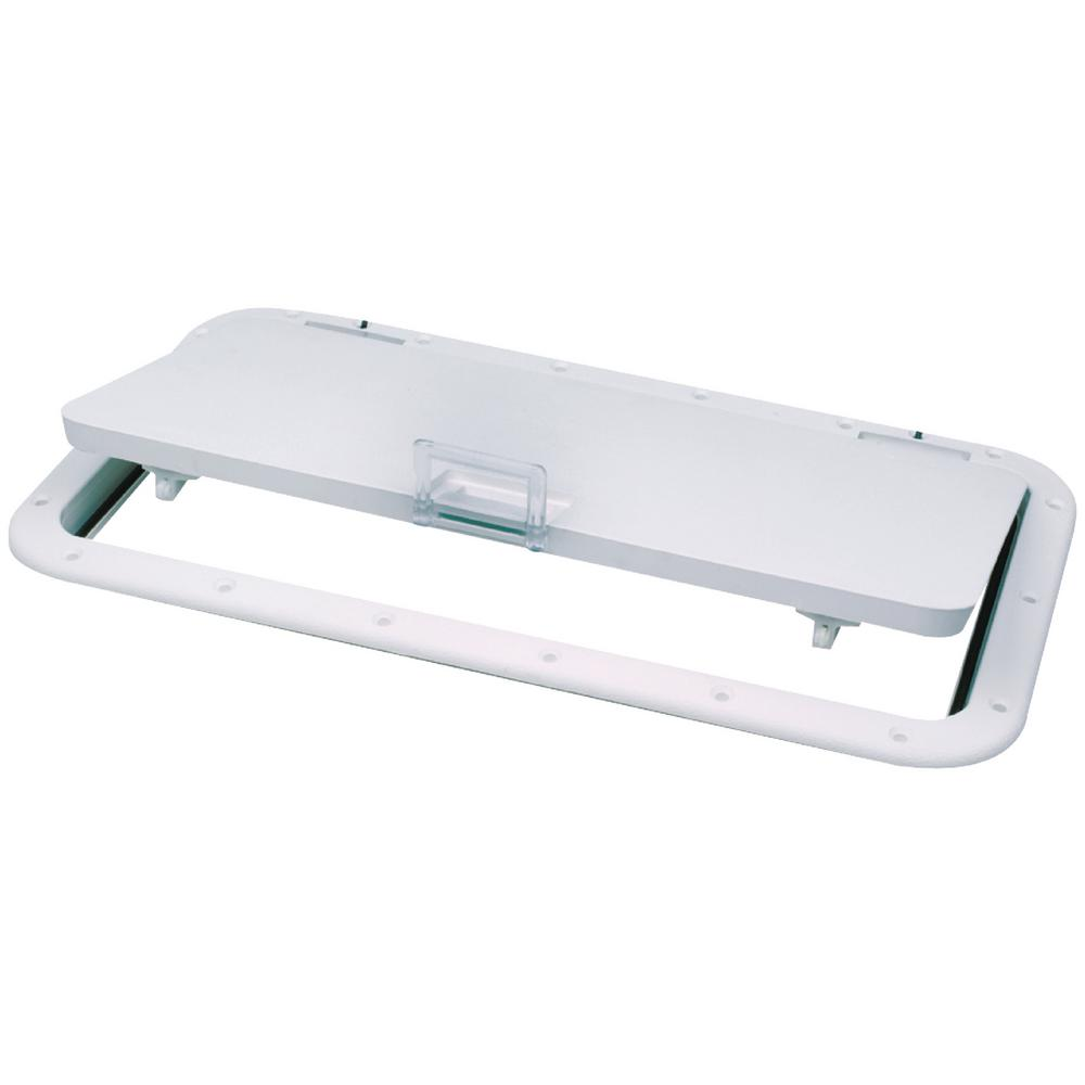 Seachoice 10 in. x 20 in. ID Hatch, Arctic White Built-in cam action handle. #8 Fasteners required. Stainless Steel Hinge 100°.