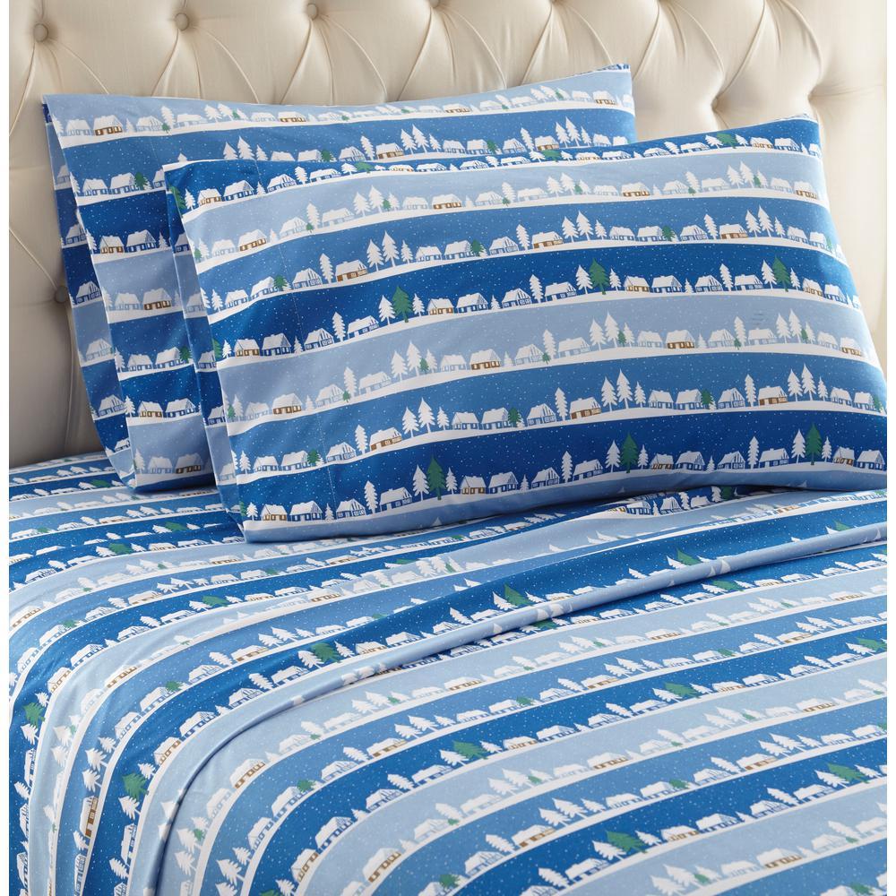 Micro Flannel 4 Piece Winter Village King Polyester Sheet Set