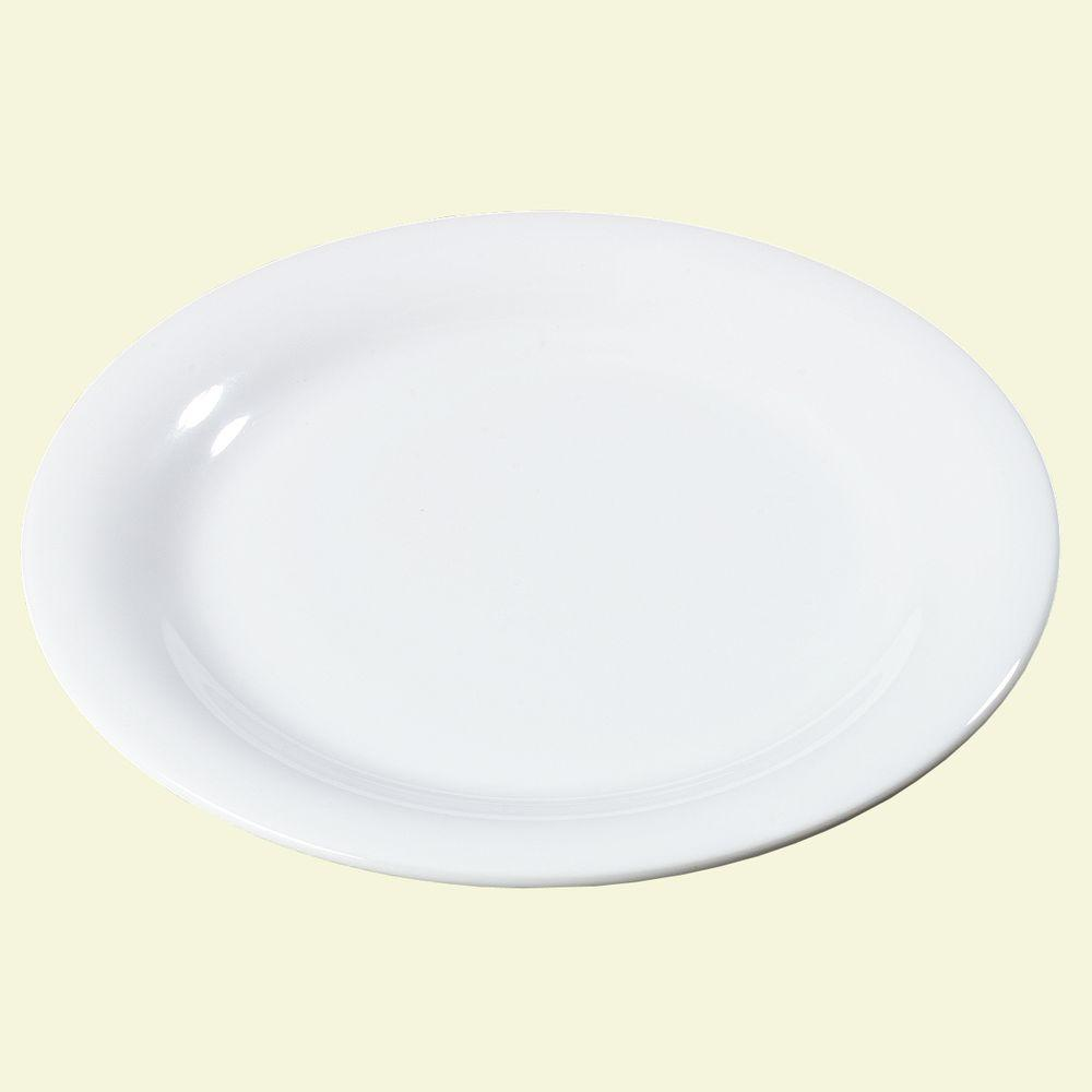 9 in. Diameter Melamine Narrow Rim Dinner Plate in White (Case