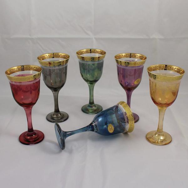 Set of 6 Stemmed Wine Glasses Water Goblets ~ Red w//Gold Border ~ Made in Italy