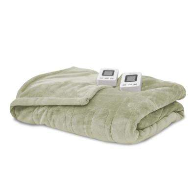 Sage 100% Polyester Fleece King Warming Blanket