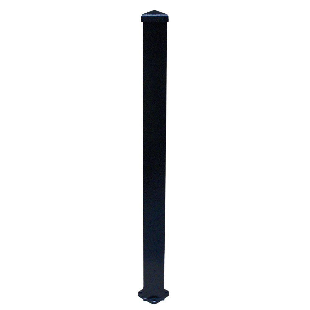 EZ Handrail 3 in. x 3 in. x 96 in. Textured Black Structural Aluminum Post