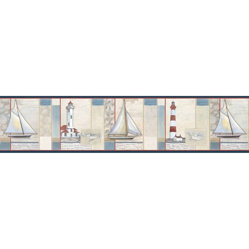 Mashpee Red White Crossing Wallpaper Border Sample