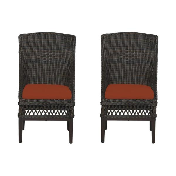 Woodbury Dark Brown Wicker Outdoor Patio Dining Chair with CushionGuard Quarry Red Cushions (2-Pack)