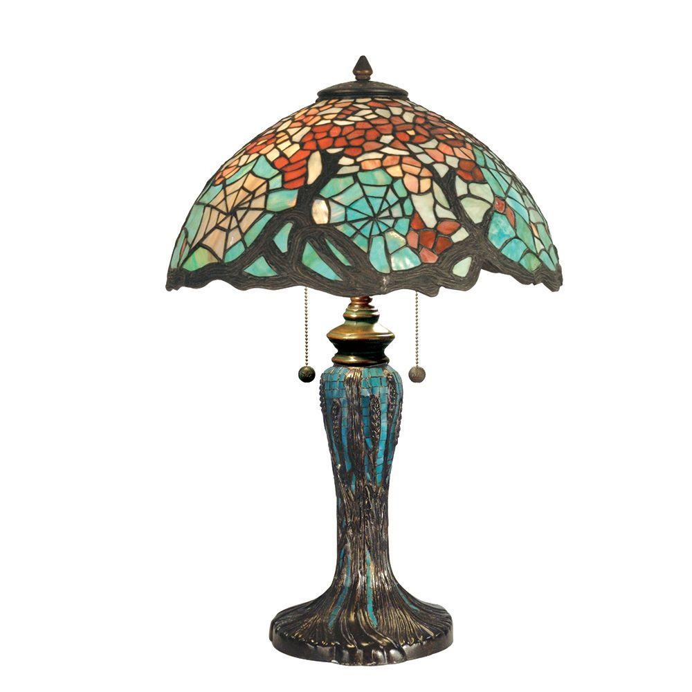 Dale Tiffany 25.5 in. Cobweb Art Glass Table Lamp with Mosaic Base-DISCONTINUED
