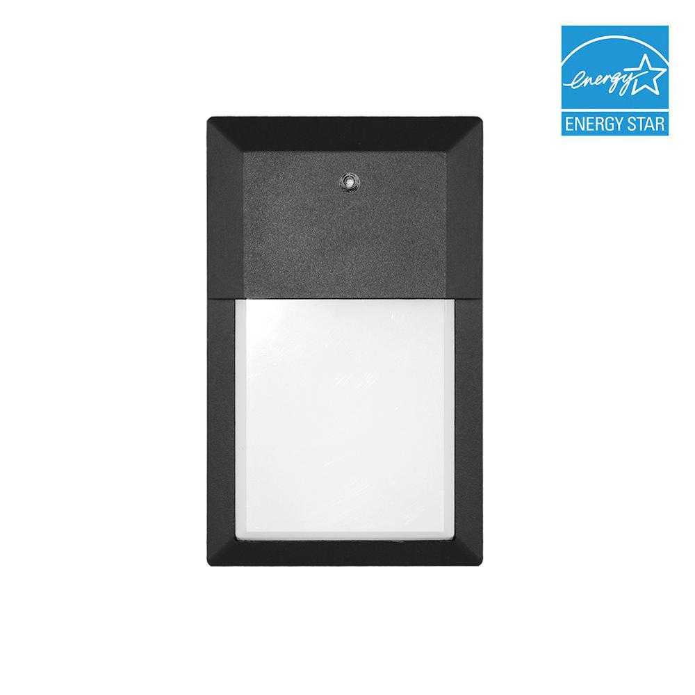 12-Watt 120° Black Outdoor Integrated LED Mini Wall Pack Light in