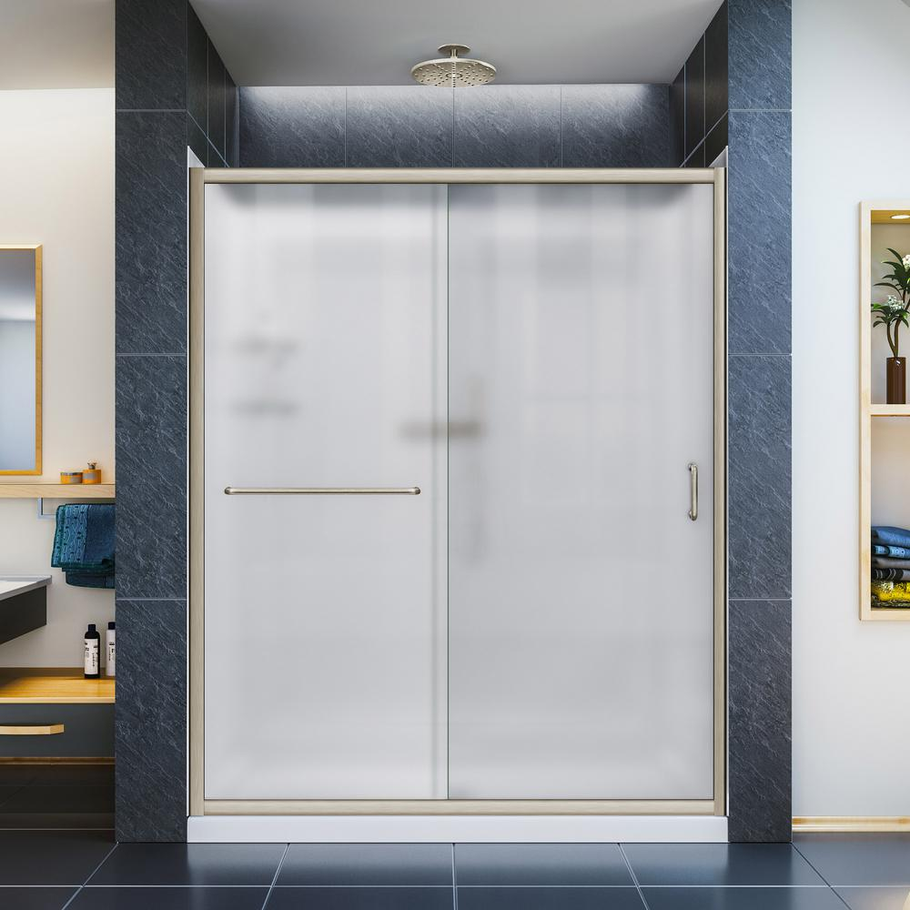 DreamLine Infinity-Z 34 in. x 60 in. Semi-Frameless Sliding Shower Door in Brushed Nickel with Center Drain Base and BackWalls