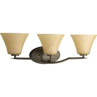 Bravo Collection 3-Light Antique Bronze Bathroom Vanity Light with Glass Shades