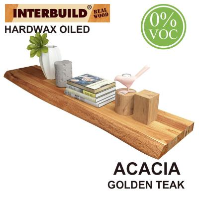 Acacia 3 ft. L x 10 in. D x 1.5 in. T Butcher Block Countertop Floating Wall Shelf in Golden Teak Stain with Live Edge