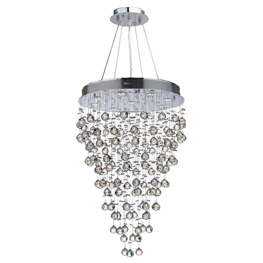 Worldwide Lighting Icicle Collection 9 Light Polished Chrome Crystal Chandelier