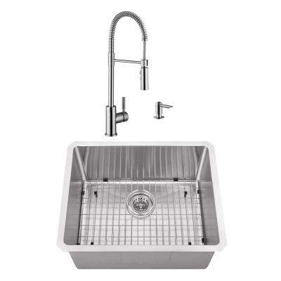 Undermount Stainless Steel 23 in. Radius Corner Single Bowl Bar and Prep Sink with Brushed Nickel Faucet