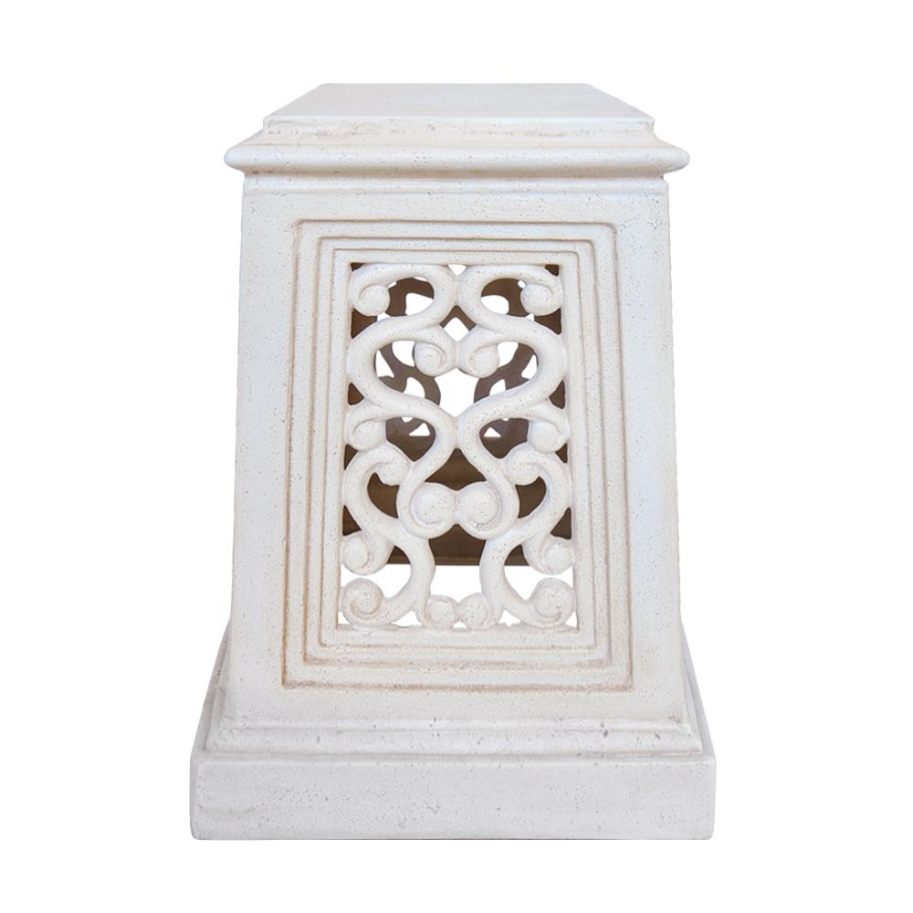 19 in. H Aged White Cast Stone Pedestal