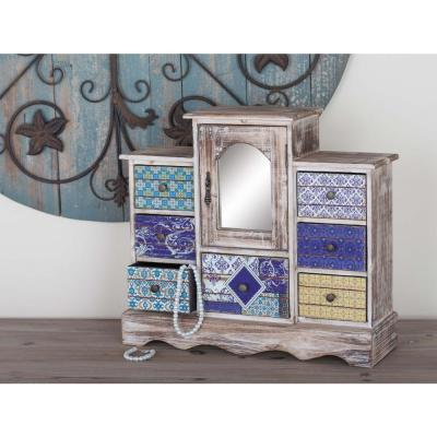 7-Drawer Rustic Multicolored Wood Jewelry Chest with Mirror