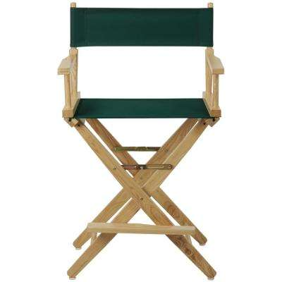 Natural Extra-Wide Frame/Hunter Green Canvas American Hardwood 24 in. Directors Chair