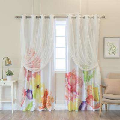 84 in. L uMIXm White Tulle and Faux Silk Multi Watercolor Blackout Curtain Panel (4-Pack)