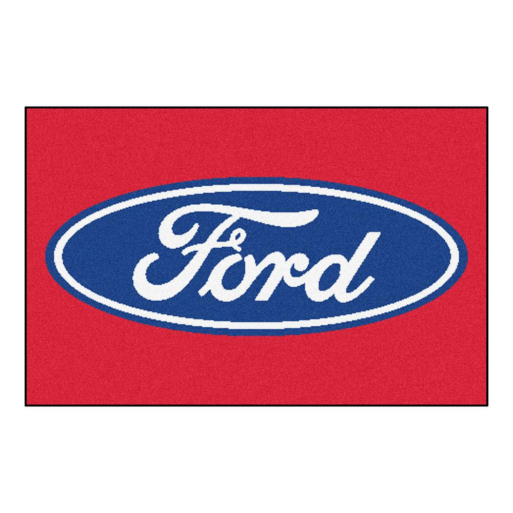 Ford - Ford Oval Red 1 ft. 7 in. x 2 ft. 6 in. Indoor Accent Rug