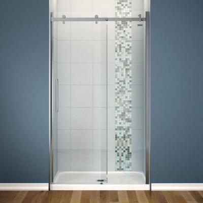 Halo 48 in. x 82 in. Frameless Sliding Shower Door in Chrome with 48 in. x 32 in. Center Drain Base in White