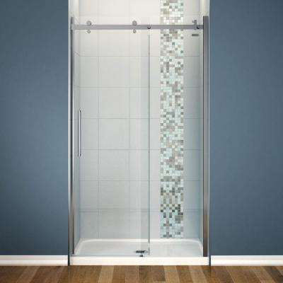 Halo 32 in. x 48 in. x 81-3/4 in. Frameless Shower Door with White Base