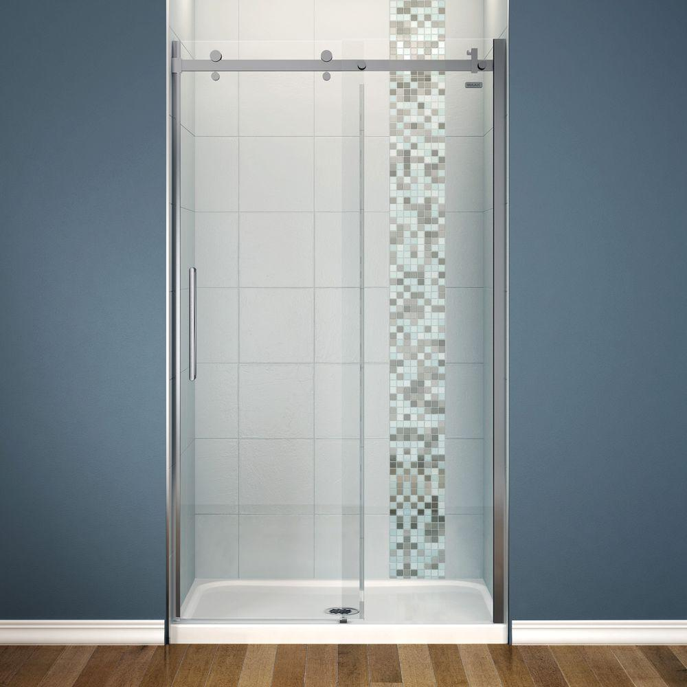 Maax Halo 48 In X 82 Frameless Sliding Shower Door Chrome With