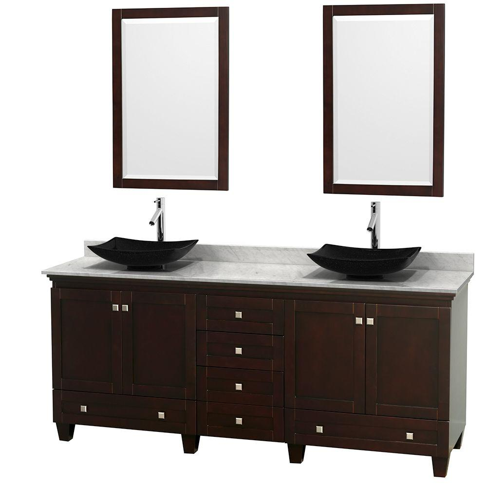 Wyndham Collection Acclaim 80 in. W Double Vanity in Espresso with Marble Vanity Top in Carrara White, Black Sinks and 2 Mirrors